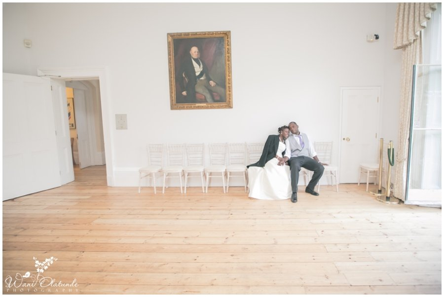 bride and groom at cambride cottage kew gardens wedding photo