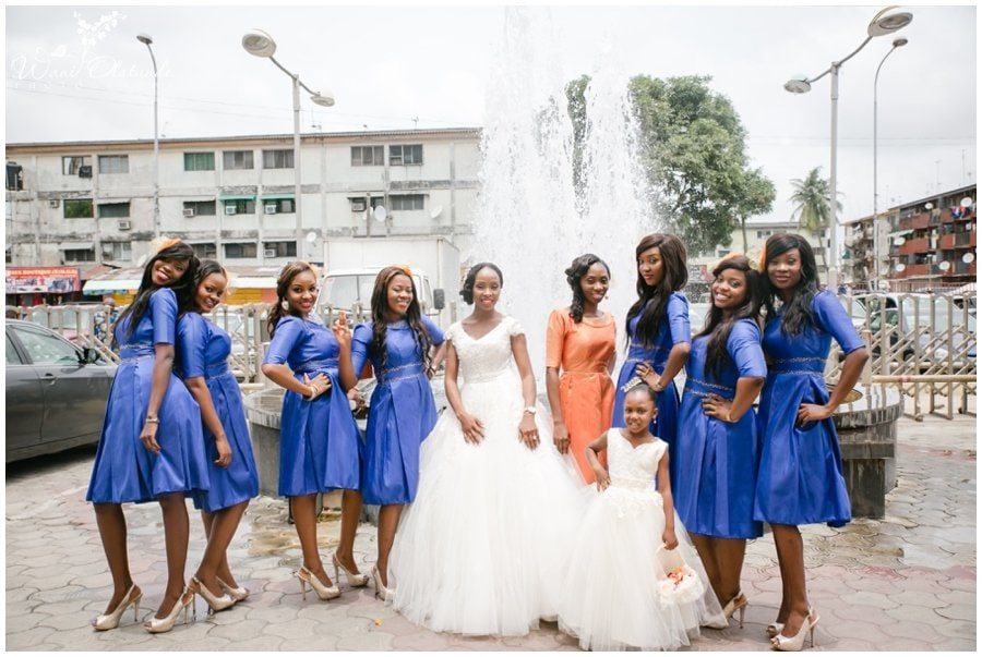 blue bridal party dresses at tfc centre wedding in festac photo