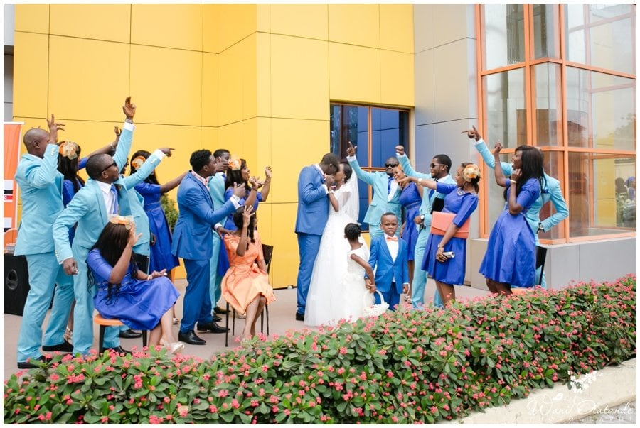 colourful in blue bridal train at tfc centre wedding in festac photo