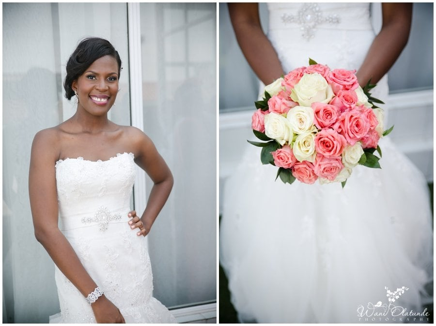 beautiful bride with blush and cream bouquet