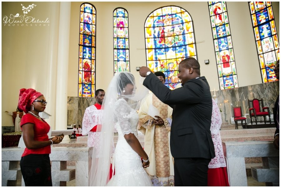 bride and groom getting married at our lady of perpetual help catholic church in victoria island