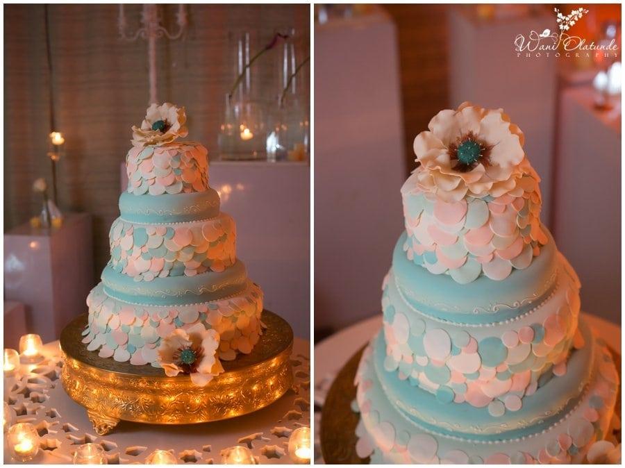 elegant wedding blue peach candy cake lagos wedding inspiration