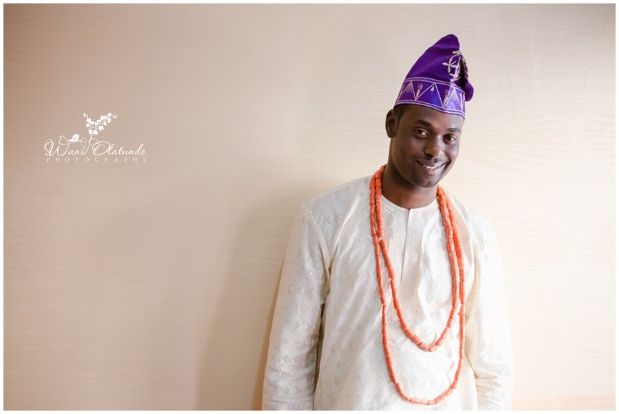 groom in purple and gold for yoruba traditional wedding in lagos