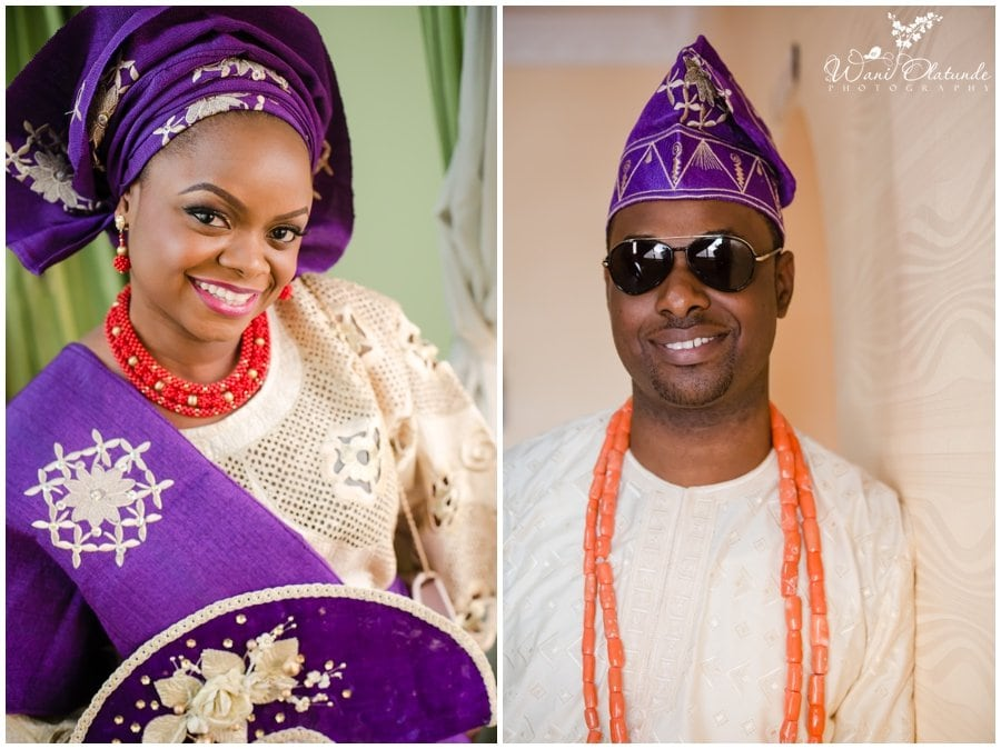 bride and groom in purple and gold for yoruba traditional wedding in lagos