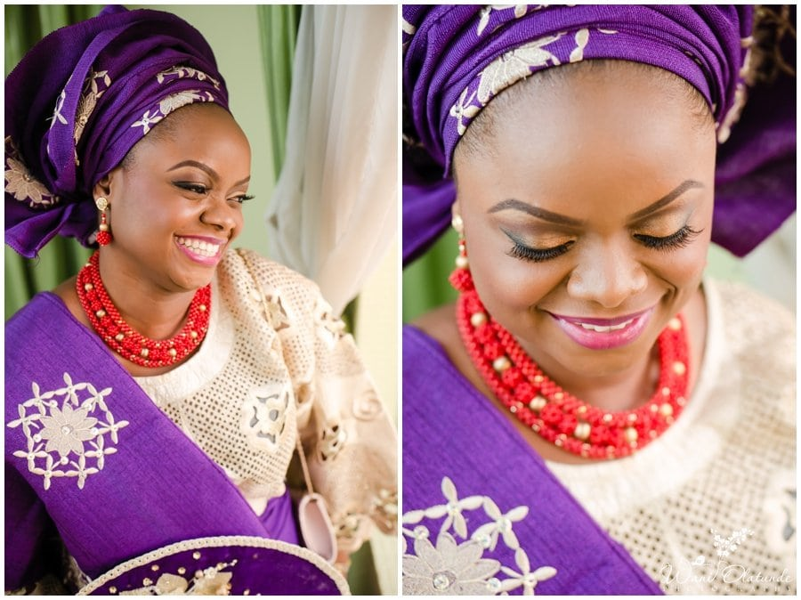 beautiful bride in purple and gold for yoruba traditional wedding in lagos