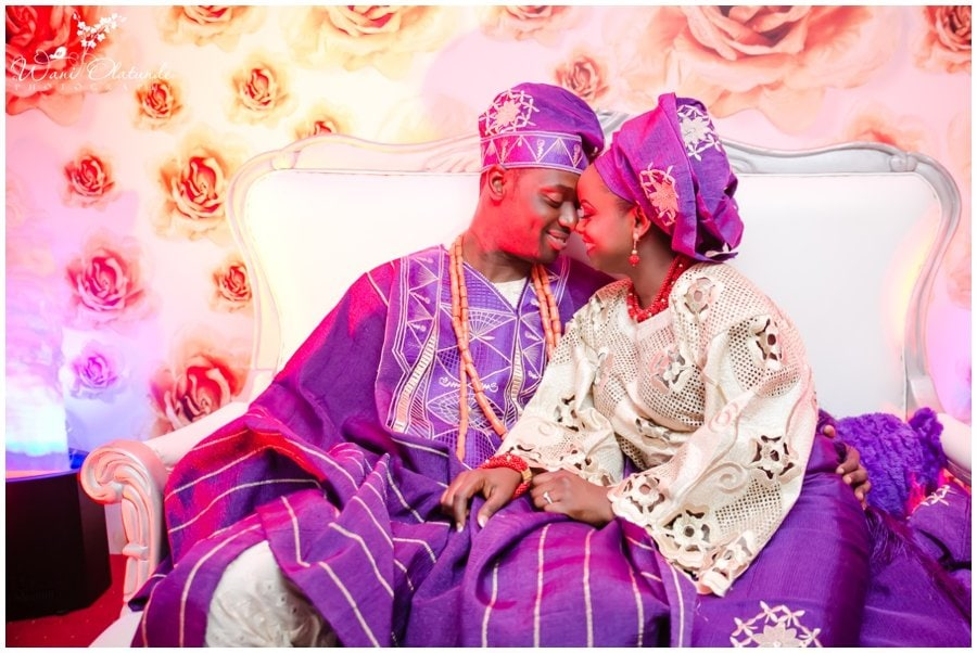 bride and groom in purple and gold for yoruba traditional wedding in lagos devine hotel ikeja