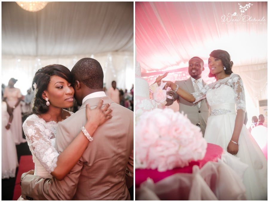 picture of pink and champagne wedding at landmark village event center