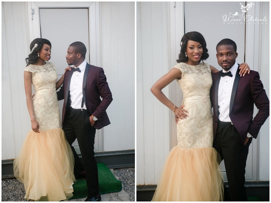 lagos bride wears gold sequin reception dress and groom dinner jacket and bow tie at landmark event center wedding