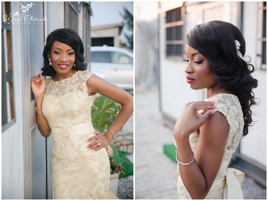 lagos bride wears gold sequin reception dress at landmark event center wedding