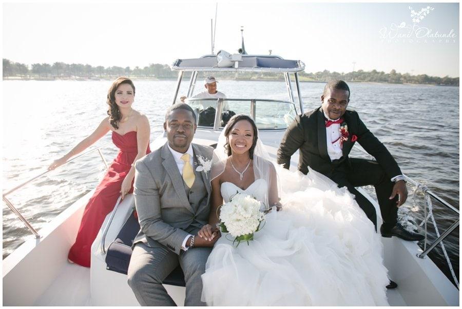 gorgeous nigerian couple on boat at dubai outdoor wedding