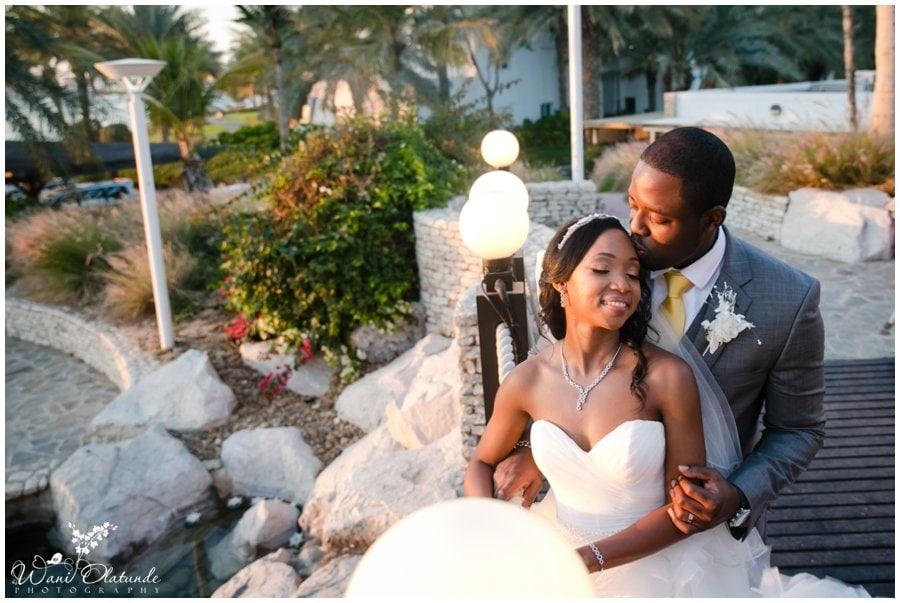 gorgeous nigerian couple pose at dubai outdoor wedding