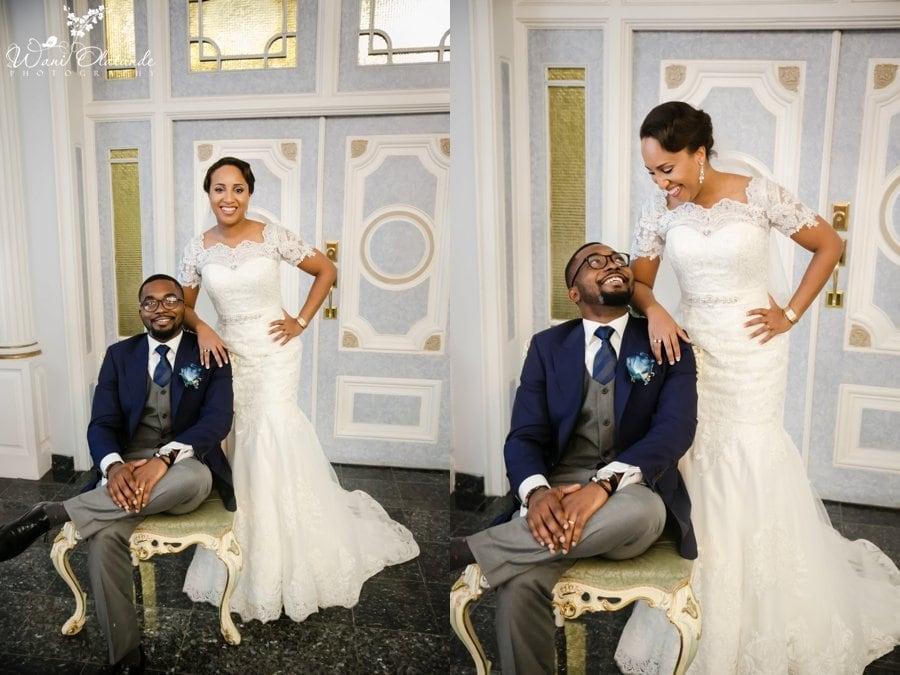 couple pictures house blue suit bride lace dress