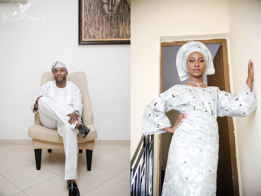 silver yoruba aso oke wedding