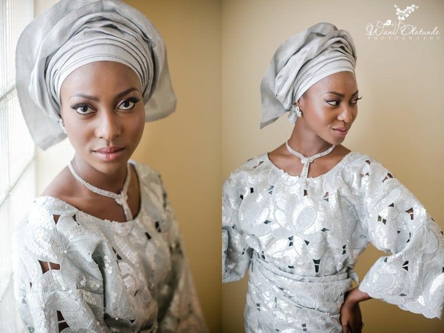 silver yoruba aso oke traditional wedding bisbod