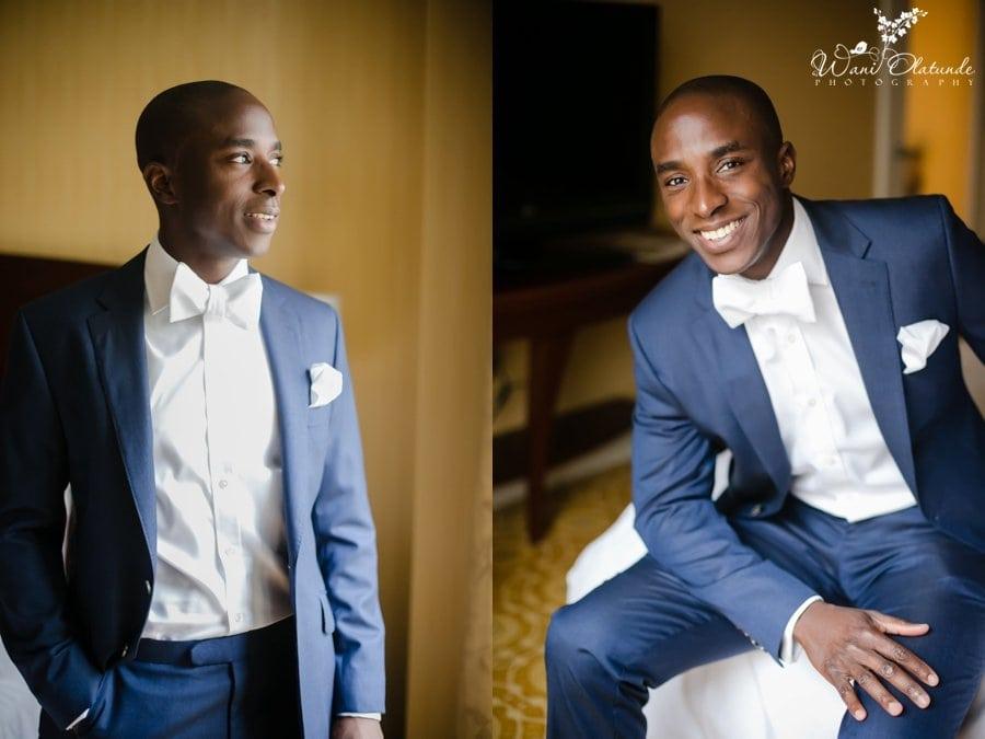 groom blue suit white bow tie