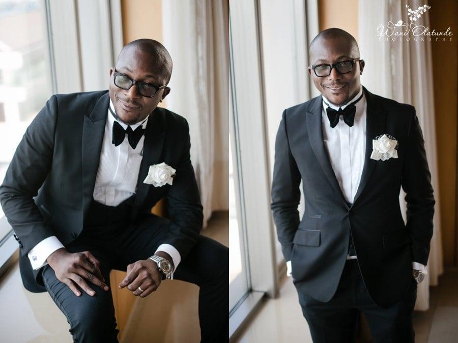 black suit bow tie groom