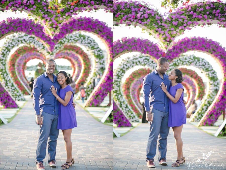 dubai miracle garden engagement shoot nigerian couple