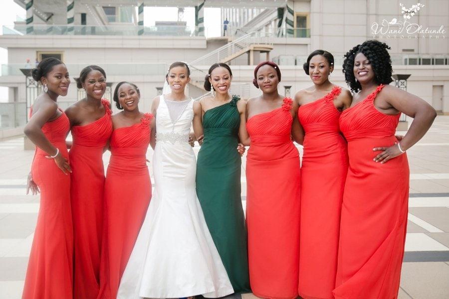 brides by demetrios orange and green bridesmaids dresses lagos oriental hotel