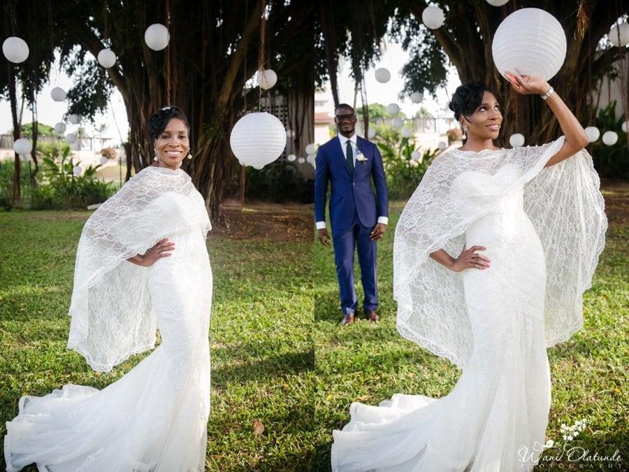 nigerian bride in pronovias wedding dress in federal palace lagos