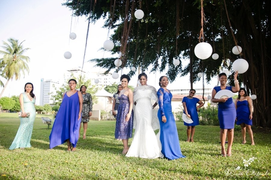 blue bridesmaids dresses federal palace lagos