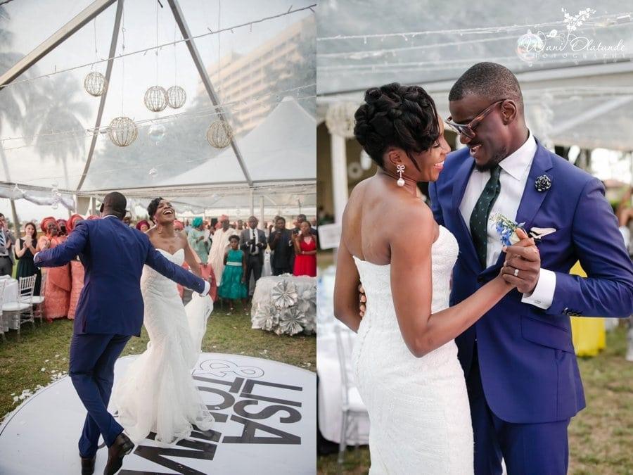 bride groom dancing outdoor wedding reception at federal palace lagos