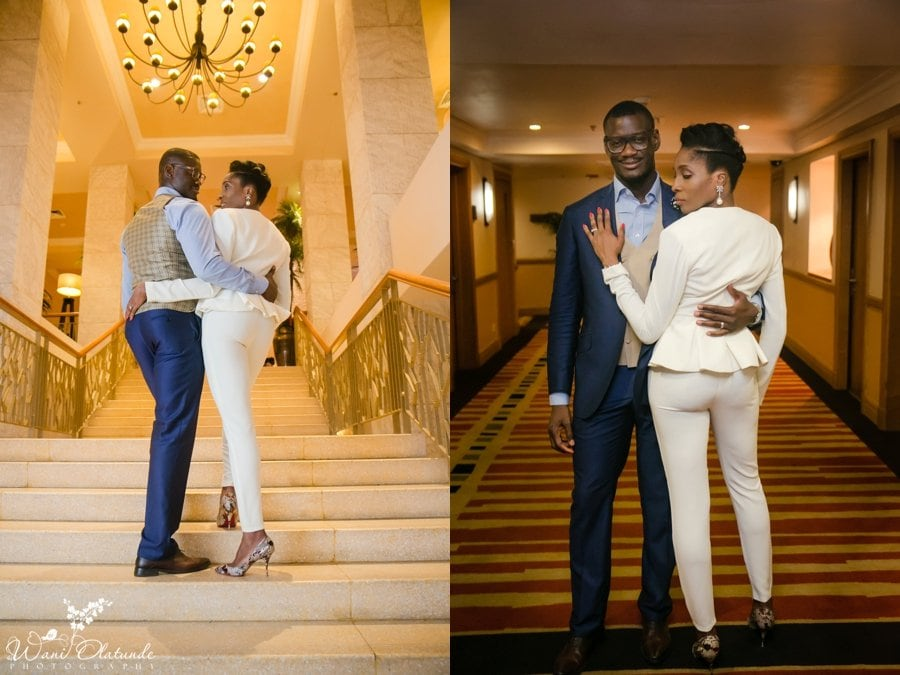 nigerian bride in white clan suit at federal palace lagos