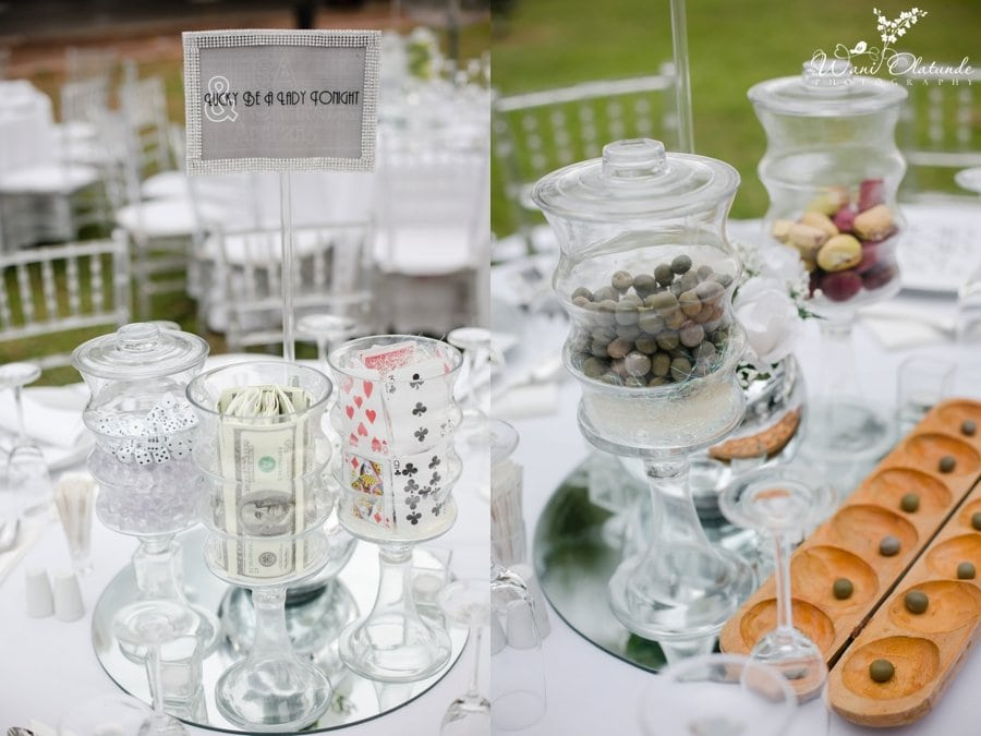 fun reception centrepieces for federal palace hotel wedding