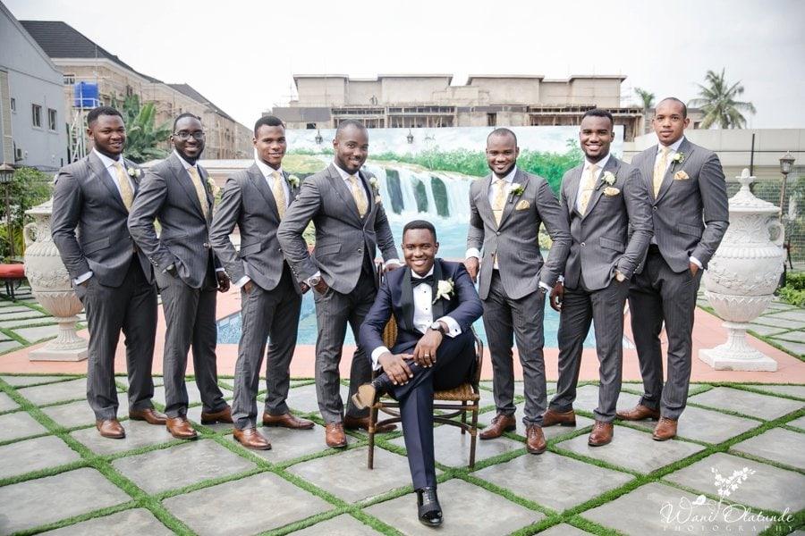 grey suits and brown shoes groomsmen lagos wedding wani olatunde
