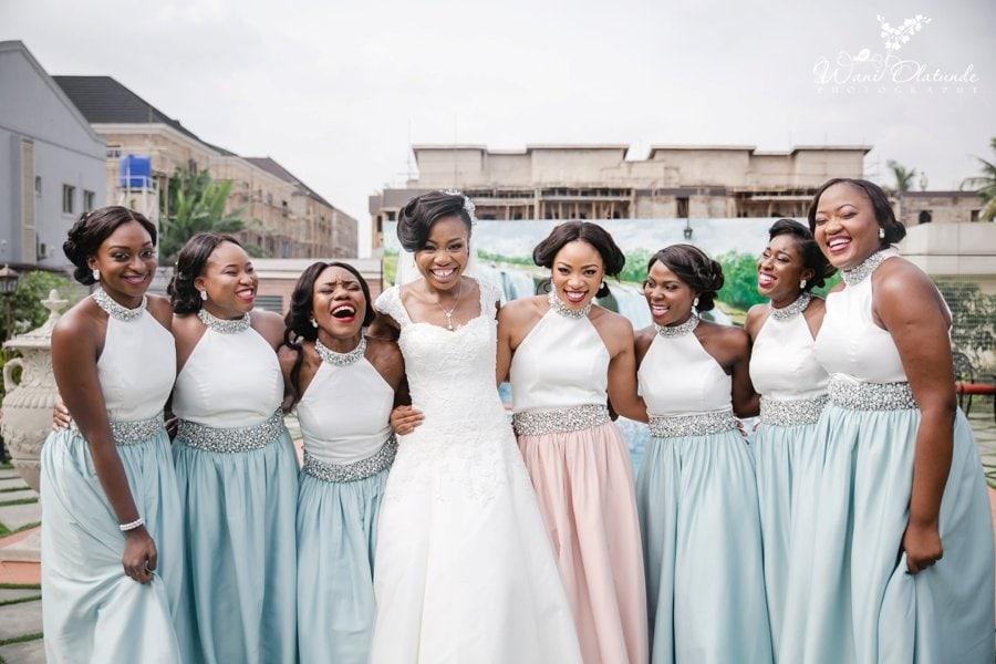 peach & teal bridesmaids dress lagos wedding wani olatunde photo