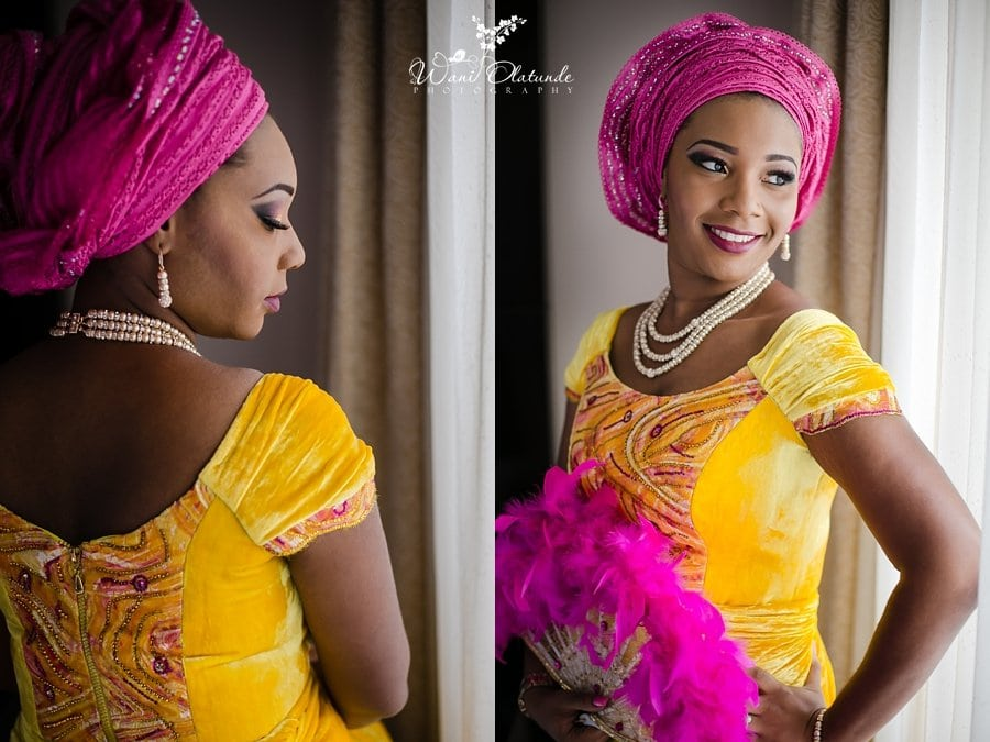traditional ibo wedding bride yellow pink wani olatunde lilygate hotel