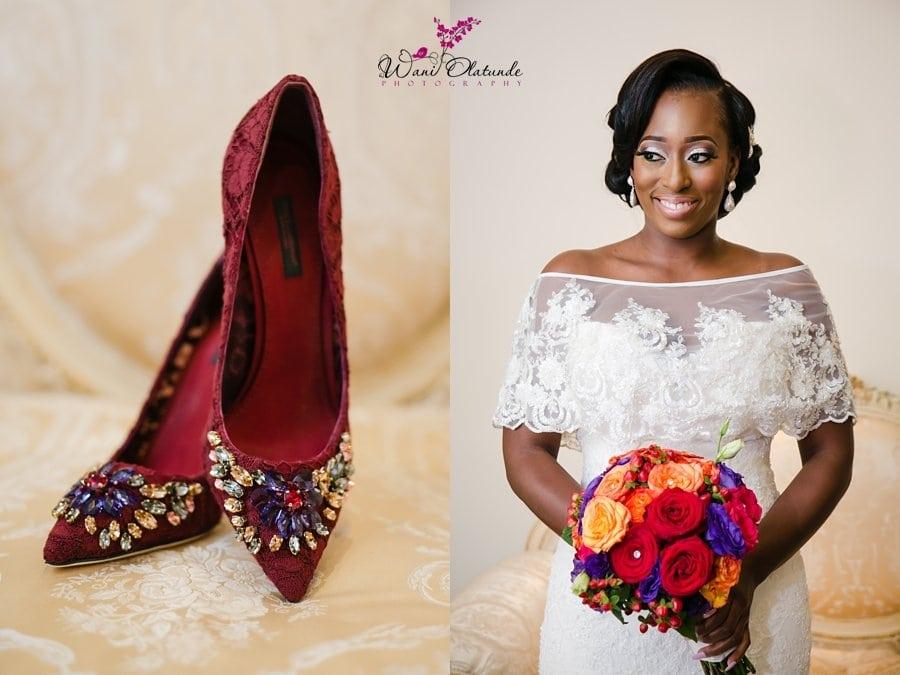 red lace wedding shoes wani olatunde