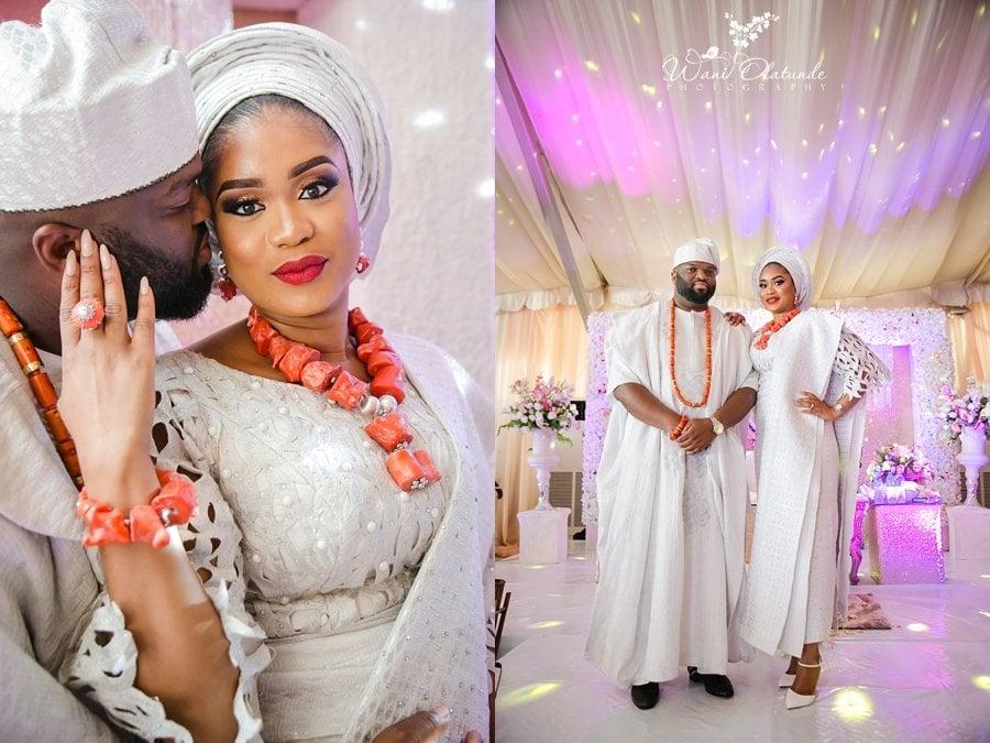 yoruba bride groom posing wedding wani olatunde