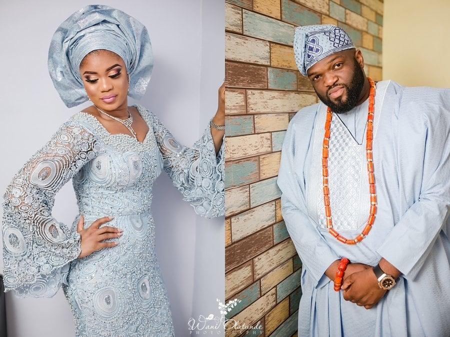 bride groom yoruba blue lace wedding wani olatunde