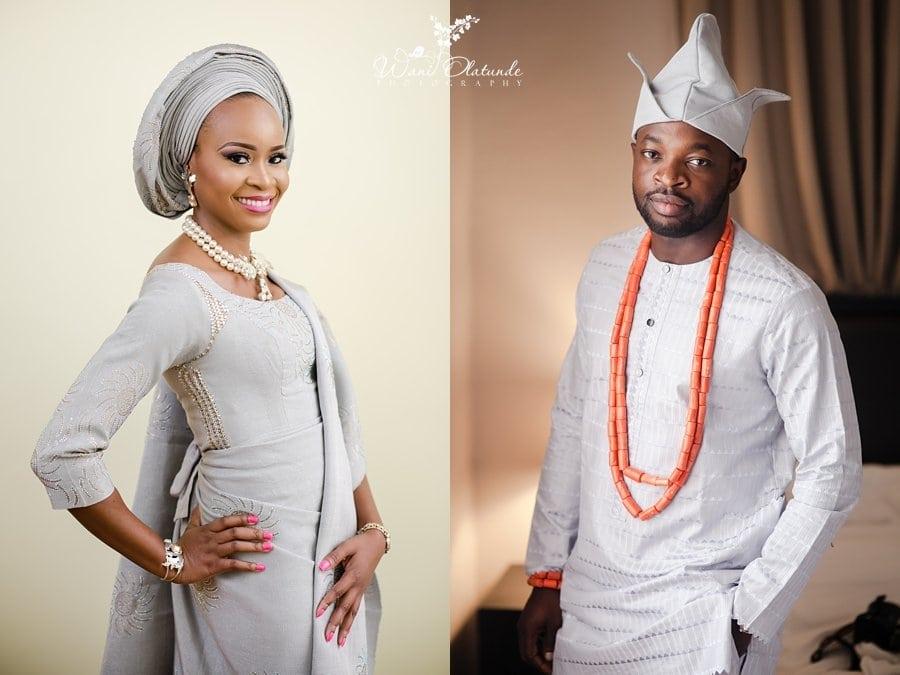 grey and silver yoruba wedding outfit wani olatunde