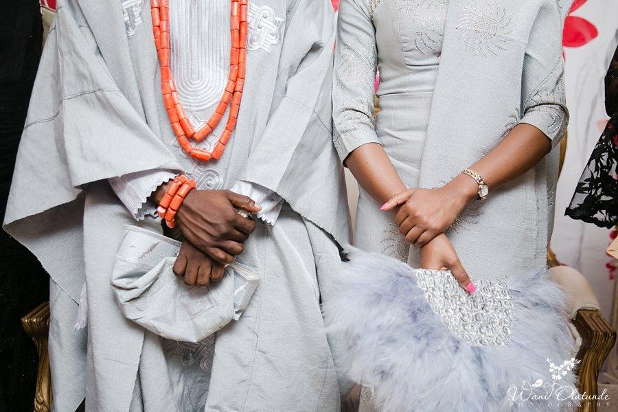 yoruba bride and groom in grey silver aso oke wani olatunde