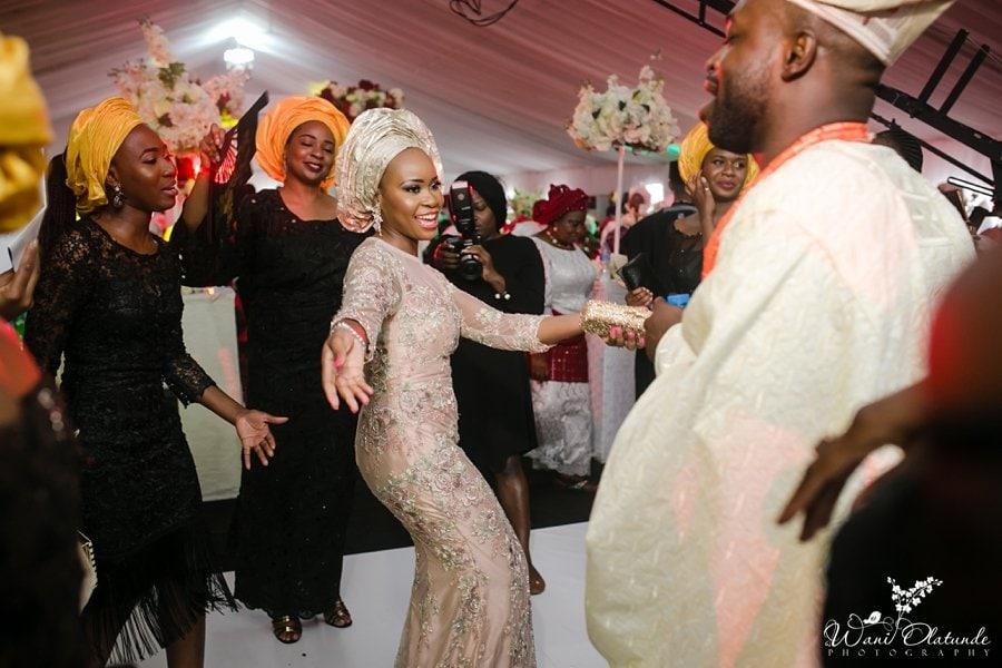 bride dancing in lanre da silva wedding dress wani olatunde