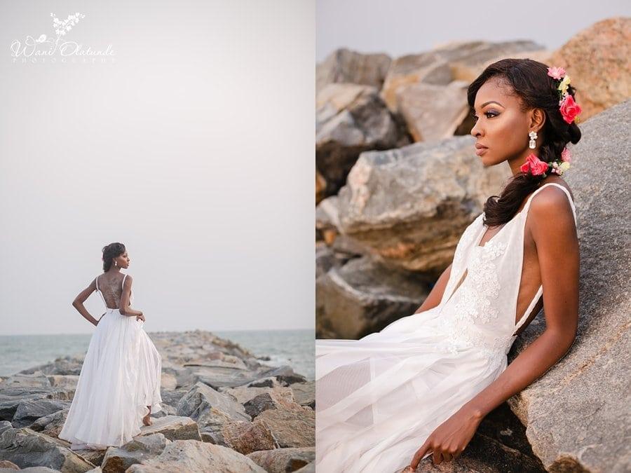 a bride photoshoot on a lagos beach wani olatunde