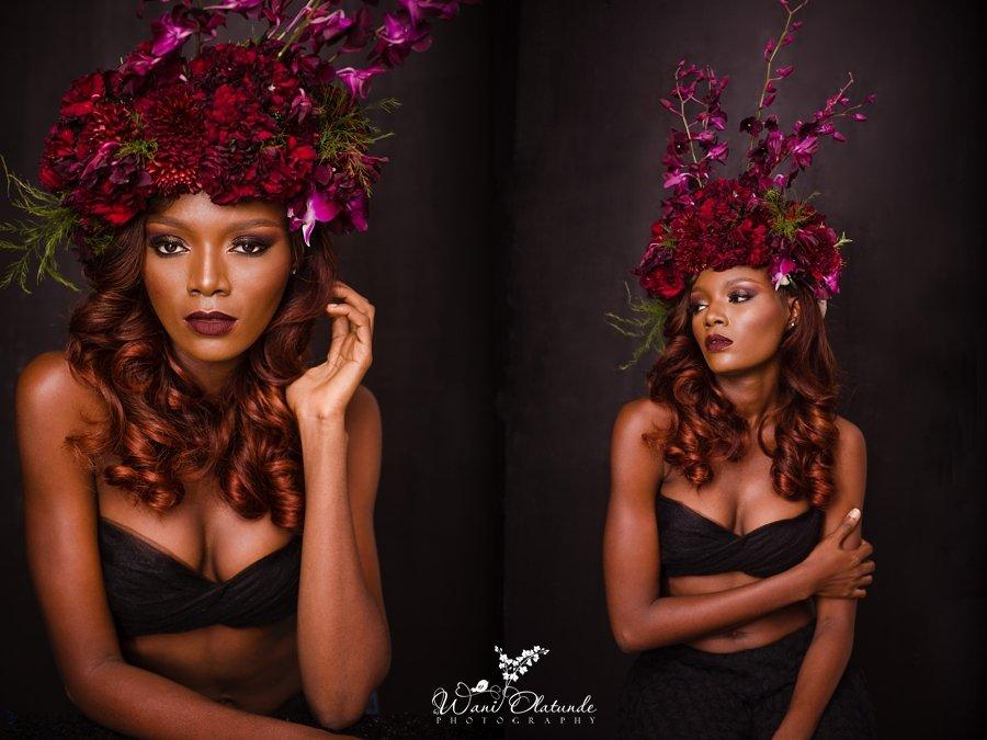 red wine flower crown avant garde aralia by nature wani olatunde portraits
