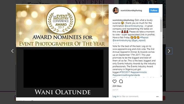 Wani Olatunde Best Event Photographer Lagos Nomination