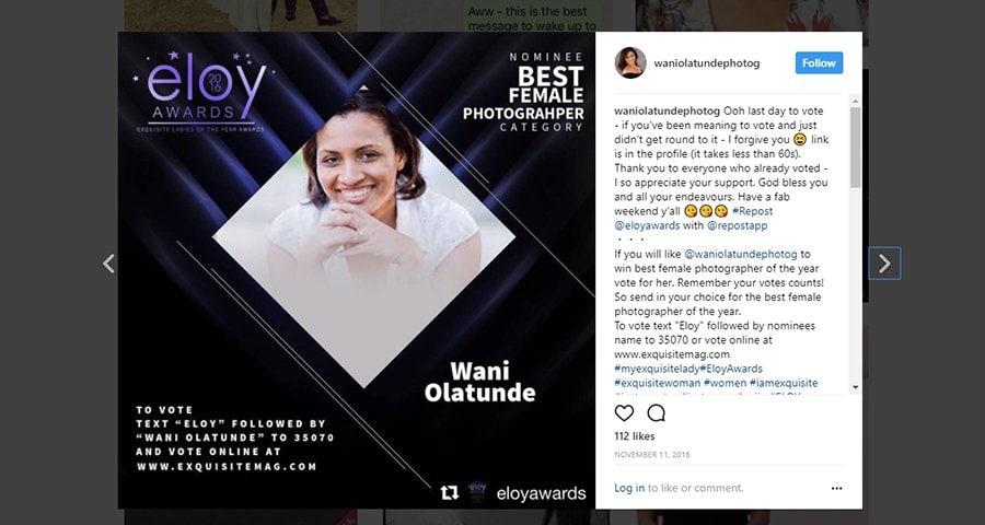 Wani Olatunde Best Female Photographer Nomination Lagos