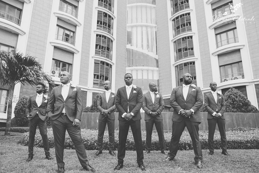 black and white groom bridal party pictures wani olatunde