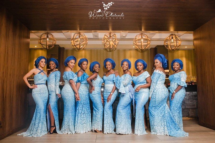 blue lace asoebi yoruba bridesmaids wani olatunde
