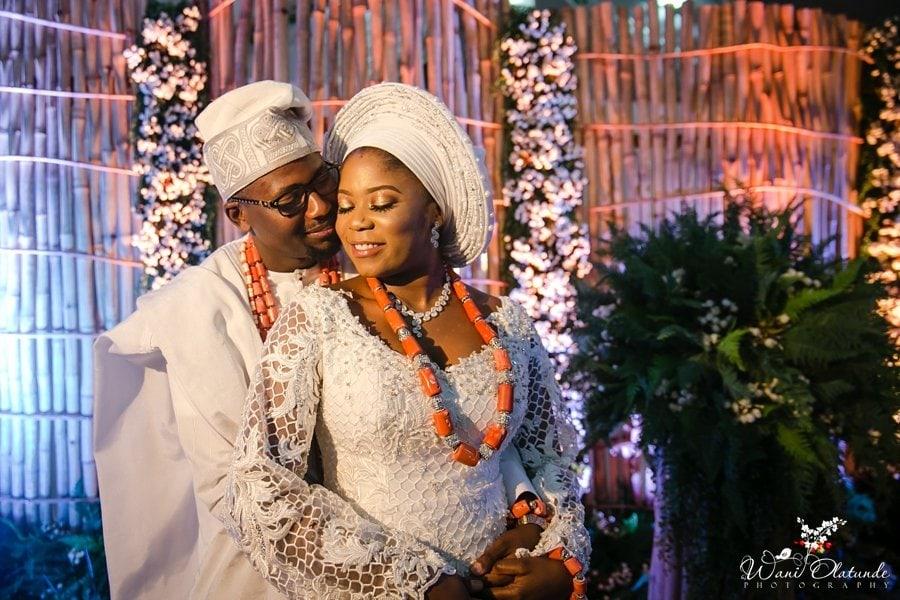 yoruba couple white wedding wani olatunde