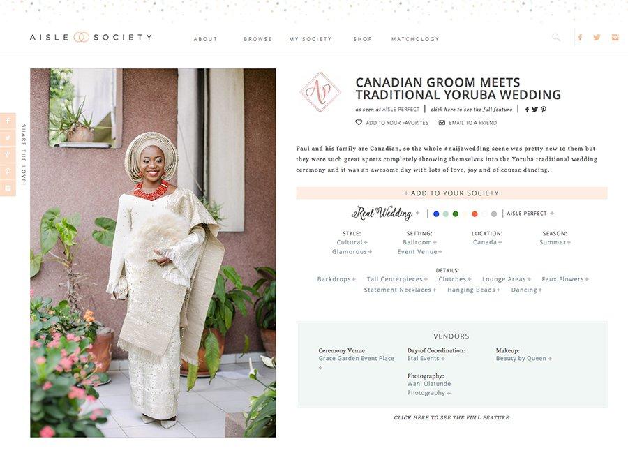 Lagos Photographer Wani Olatunde Aisle Society Wedding Feature
