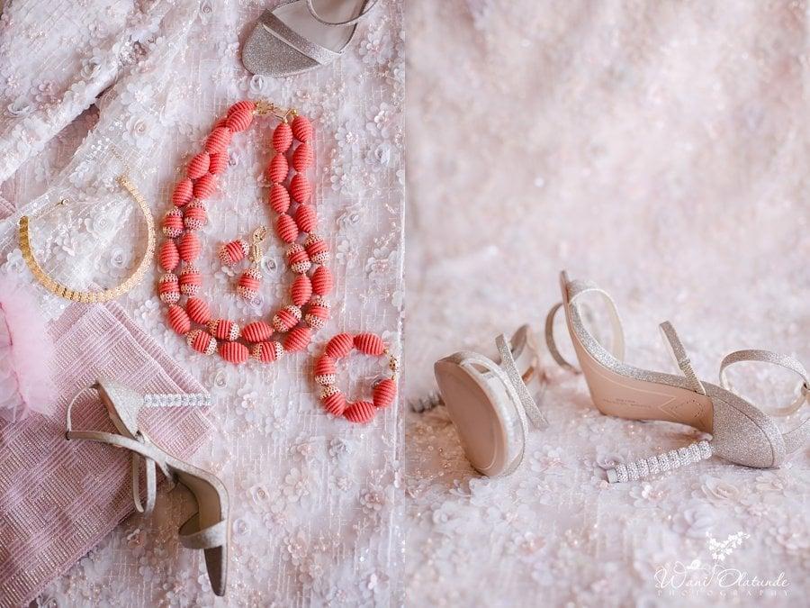 pink coral lace traditional wedding wani olatunde