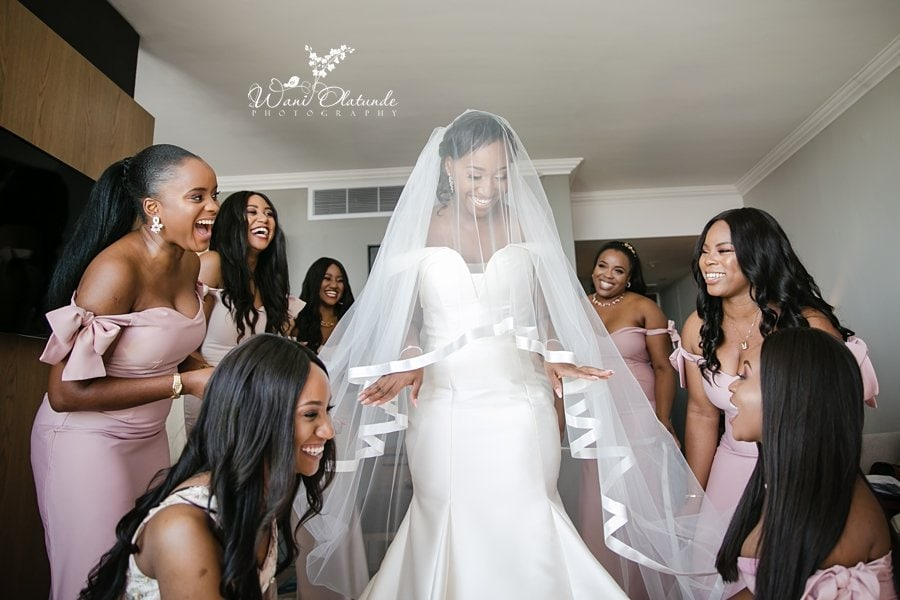 Bride Getting Ready with bridesmaids Buckinghamshire Wani Olatunde