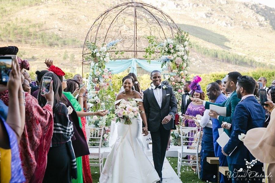 Bride Groom Walk Down Outdoor Aisle Wani Olatunde