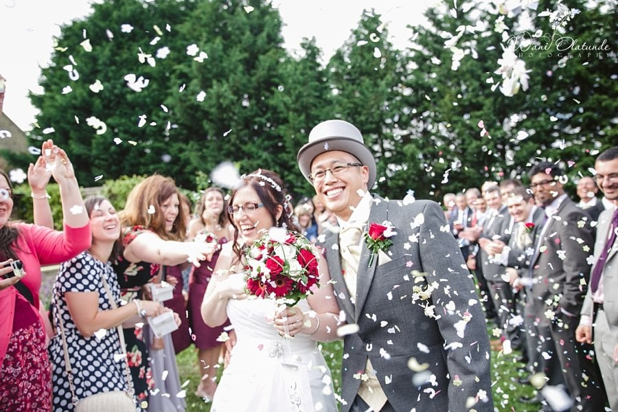 Bride Groom Confetti Walk Down Outdoor Aisle Wani Olatunde