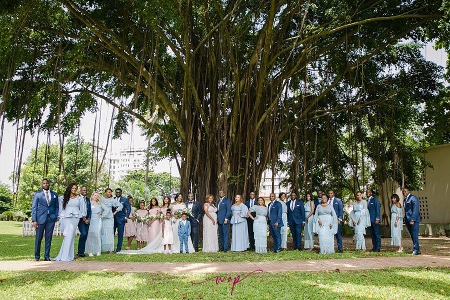 large bridal party pose wani olatunde